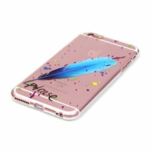 iPhone 6s / 6 Super Slim Gummi Hülle TPU Blaue Feder