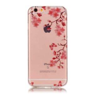 iPhone 6s / 6 Super Slim Gummi Hülle TPU Blumen Pink