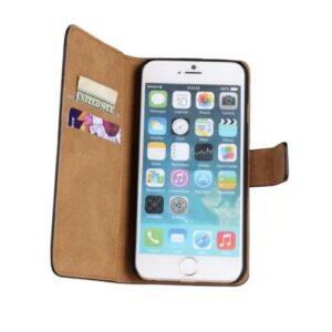 iPhone 6s Plus / 6 Plus Buch Etui Tasche Echtleder mit Kartenfach Schwarz