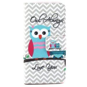 iPhone SE / 5s / 5 Buch Etui Tasche mit Kartenfach Eule