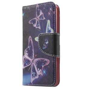 iPhone SE / 5s / 5 Buch Etui Tasche mit Kartenfach Schmetterling