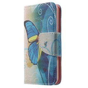 iPhone SE / 5s / 5 Buch Etui Tasche mit Kartenfach Schmetterling Blau