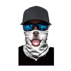 Ski und Snowbard Maske mit coolem Aufdruck mit dem Motiv weisser Hund