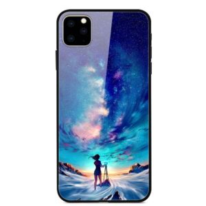 iPhone 11 Glas Schutzhülle mit Gummi Rand mit dem Motiv Astro Girl