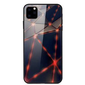 iPhone 11 Glas Schutzhülle mit Gummi Rand mit dem Motiv Rote Linien