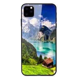 iPhone 11 Glas Gummi Schutzhülle mit dem Motiv Schweizer Alpen