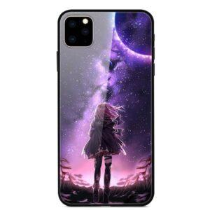 iPhone 11 Glas Schutzhülle mit Gummi Rand mit dem Motiv Sternenmädchen