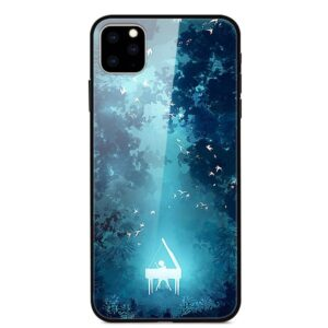 iPhone 11 Glas Schutzhülle mit Gummi Rand mit dem Motiv Wald Piano