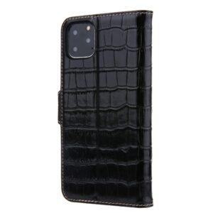 iPhone 11 Pro Max Buch Etui Schutzhülle Echtleder Krokodil in Schwarz