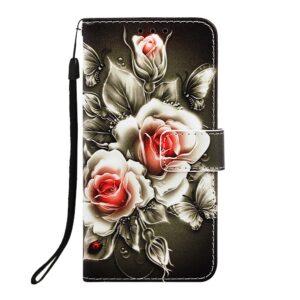 iPhone 11 Pro Max Buch Etui Schutzhülle mit Aufdruck Rosen
