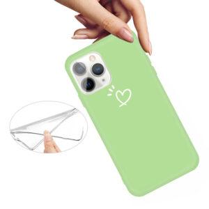 iPhone 11 Pro schlanke Gummi Schutzhülle mit coolem Aufdruck Herz Grün
