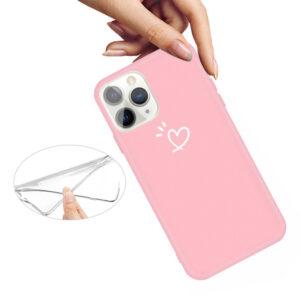 iPhone 11 Pro schlanke Gummi Schutzhülle mit coolem Aufdruck Herz Pink