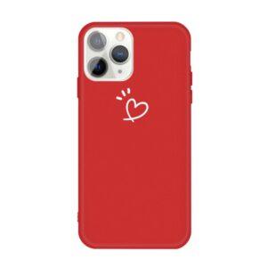 iPhone 11 Pro schlanke Gummi Schutzhülle mit coolem Aufdruck Herz Rot