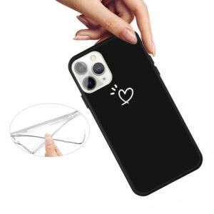 iPhone 11 Pro schlanke Gummi Schutzhülle mit coolem Aufdruck Herz Schwarz