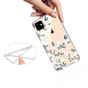 iPhone 11 Gummi Schutzhülle Transparent Blüten Ast Weiss