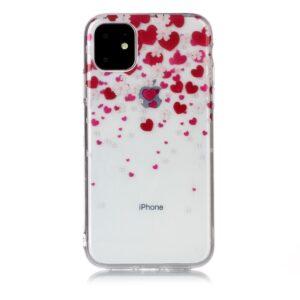 Super Dünne Transparente Gummi Schutzhülle für das iPhone 11 mit dem Aufdruck Herzen