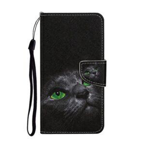 iPhone 12 Mini Buch Etui Schutzhülle mit Kartenfach mit dem Aufdruck grüne Katzenaugen