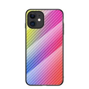 iPhone 12 Mini Schutzhülle Cover mit Glas Rückseite und Gummirand Carbon Optik Bunt
