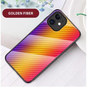 iPhone 12 Mini Schutzhülle Cover mit Glas Rückseite und Gummirand Carbon Optik Orange