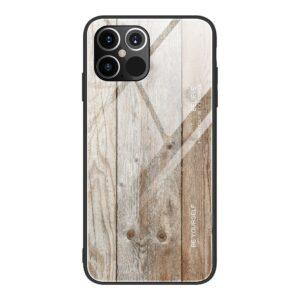 iPhone 12 Mini Schutzhülle Cover mit Glas Rückseite und Gummirand Holzoptik Weiss
