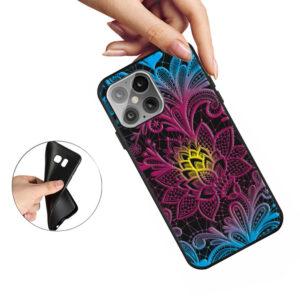 iPhone 12 Mini Gummi Schutzhülle Cover mit coolem Aufdruck bunte Blume