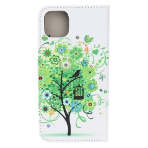 iPhone 12 / iPhone 12 Pro Buch Etui Schutzhülle mit Aufdruck Baum