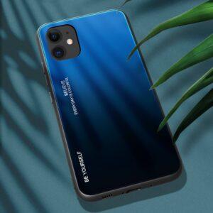 iPhone 12 / iPhone 12 Pro Schutzhülle Case Cover mit Glas Rückseite und Gummi Rand Blau Schwarz