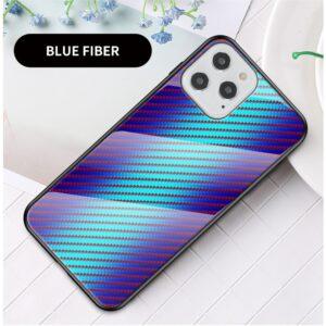 iPhone 12 / iPhone 12 Pro Schutzhülle Case Cover mit Glas Rückseite und Gummi Rand Carbon Optik Blau