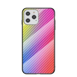 iPhone 12 / iPhone 12 Pro Schutzhülle Case Cover mit Glas Rückseite und Gummi Rand Carbon Optik Bunt