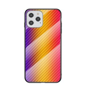 iPhone 12 / iPhone 12 Pro Schutzhülle Case Cover mit Glas Rückseite und Gummi Rand Carbon Optik Orange
