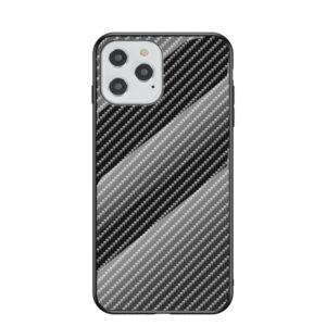 iPhone 12 / iPhone 12 Pro Schutzhülle Case Cover mit Glas Rückseite und Gummi Rand Carbon Optik Schwarz
