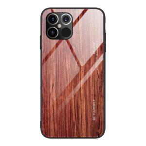 iPhone 12 / iPhone 12 Pro Schutzhülle Case Cover mit Glas Rückseite und Gummi Rand Holzoptik Braun