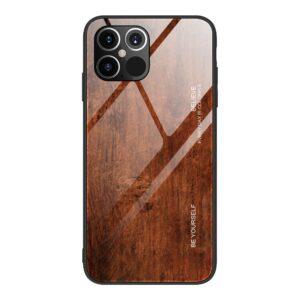 iPhone 12 / iPhone 12 Pro Schutzhülle Case Cover mit Glas Rückseite und Gummi Rand Holzoptik Dunkelbraun