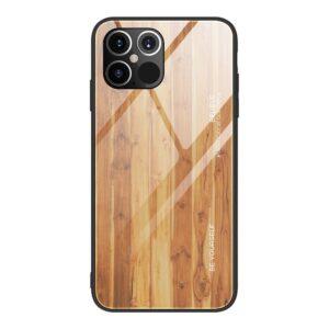 iPhone 12 / iPhone 12 Pro Schutzhülle Case Cover mit Glas Rückseite und Gummi Rand Holzoptik Hellbraun