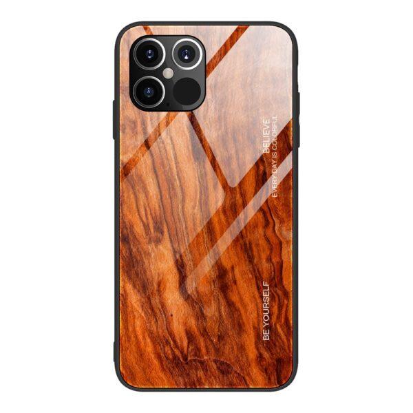 iPhone 12 / iPhone 12 Pro Schutzhülle Case Cover mit Glas Rückseite und Gummi Rand Holzoptik Orange
