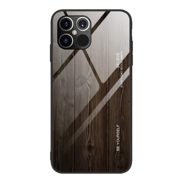 iPhone 12 / iPhone 12 Pro Schutzhülle Case Cover mit Glas Rückseite und Gummi Rand Holzoptik Schwarz