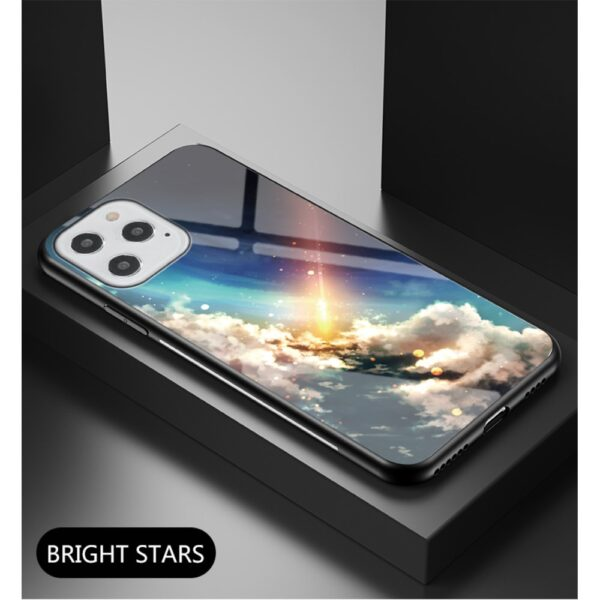 iPhone 12 / iPhone 12 Pro Schutzhülle Case Cover mit Glas Rückseite und Gummi Rand Meteorit