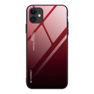 iPhone 12 / iPhone 12 Pro Schutzhülle Case Cover mit Glas Rückseite und Gummi Rand Rot Schwarz