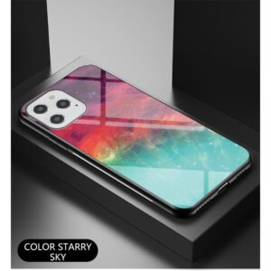 iPhone 12 / iPhone 12 Pro Schutzhülle Case Cover mit Glas Rückseite und Gummi Rand Universum Bunt