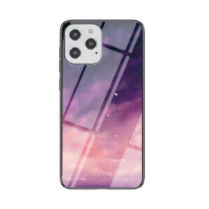 iPhone 12 / iPhone 12 Pro Schutzhülle Case Cover mit Glas Rückseite und Gummi Rand Universum Pink