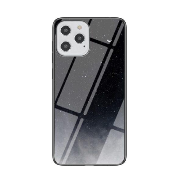 iPhone 12 / iPhone 12 Pro Schutzhülle Case Cover mit Glas Rückseite und Gummi Rand Universum Schwarz