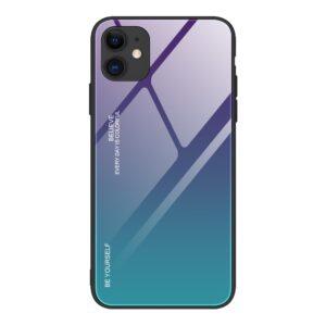 iPhone 12 / iPhone 12 Pro Schutzhülle Case Cover mit Glas Rückseite und Gummi Rand Violett Blau