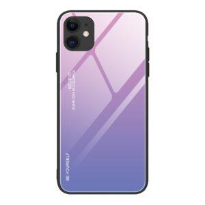 iPhone 12 / iPhone 12 Pro Schutzhülle Case Cover mit Glas Rückseite und Gummi Rand Violett Pink
