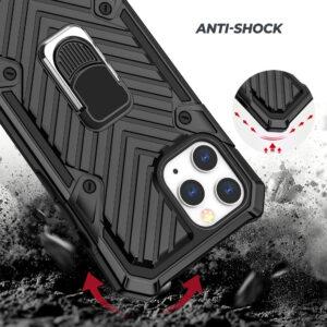 iPhone 12 / iPhone 12 Pro Hybrid Silkion und Plastik Schutzhülle mit Ringhalterung und sturzfest
