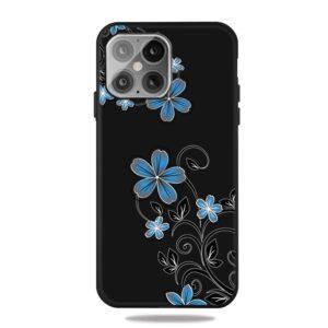 iPhone 12 / iPhone 12 Pro Gummi Schutzhülle Case blaue Blüten