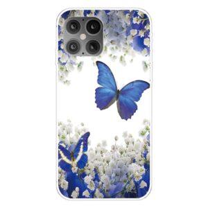 iPhone 12 / iPhone 12 Pro Gummi Schutzhülle Case blauer Schmetterling