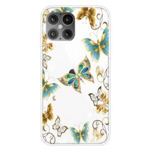Super Dünne Transparente Schutzhülle für das iPhone 12 / iPhone 12 Pro mit dem Aufdruck bunte Schmetterlinge