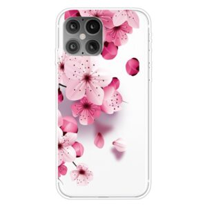 Super Dünne Transparente Schutzhülle für das iPhone 12 / iPhone 12 Pro mit dem Aufdruck pinke Blüten