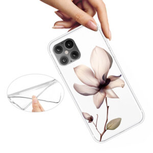 Super Dünne Transparente Schutzhülle für das iPhone 12 / iPhone 12 Pro mit dem Aufdruck weisse Blume
