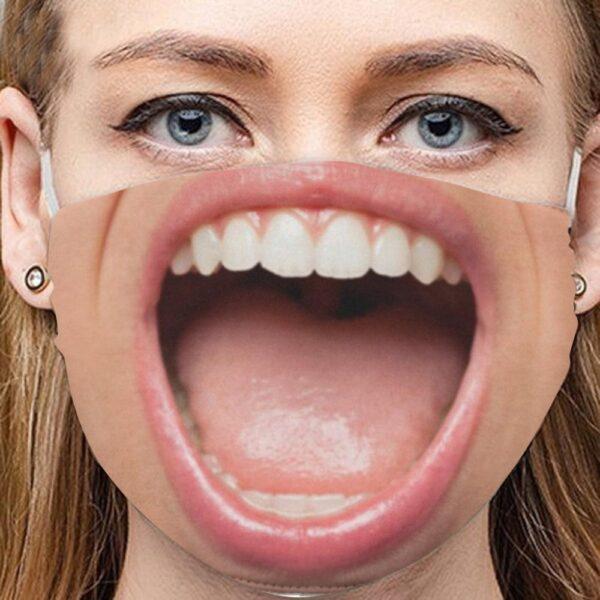 Stoffmaske Schutzmaske mit lustigem Aufdruck Grossmaul